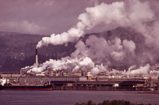 A Weyerhauser paper mill on the Columbia River. Temperatures have increased much faster in the western part of the United States than in the South. (National Archives)