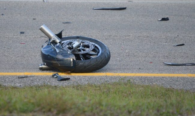The motorcycle's front wheel was torn off and rested a few dozen feet north of the motorcycle. Click on the image for larger view. (© FlaglerLive)