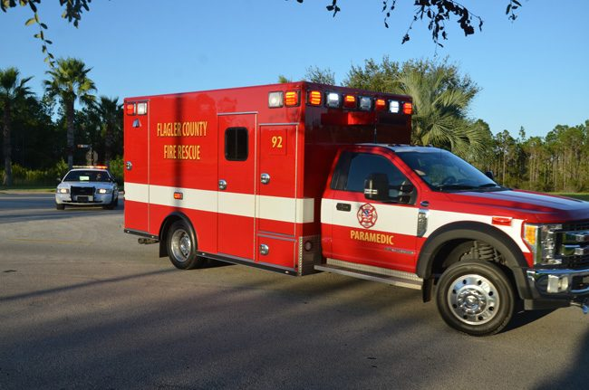 The Flagler County Fire Rescue unit taking Ricky Wheeler to Florida Hospital Flagler at 6:41 p.m. (c FlaglerLive)