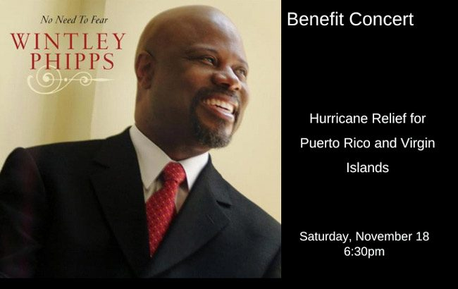 The dynamic Wintley Phipps of Oprah fame is headlining a benefit concert for Puerto Rico and the Virgin Islands at Palm Coast Seventh Day Adventist Church at 5650 Belle Terre Parkway Saturday at 6:30 p.m.