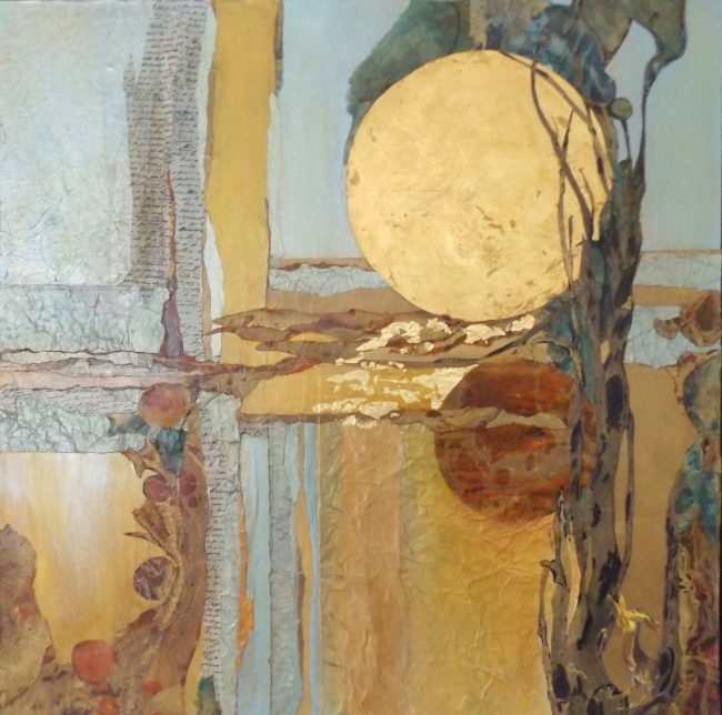 'Here Comes the Sun,' a mixed-media work by Judi Wormeck. Click on the image for larger view. (© FlaglerLive)