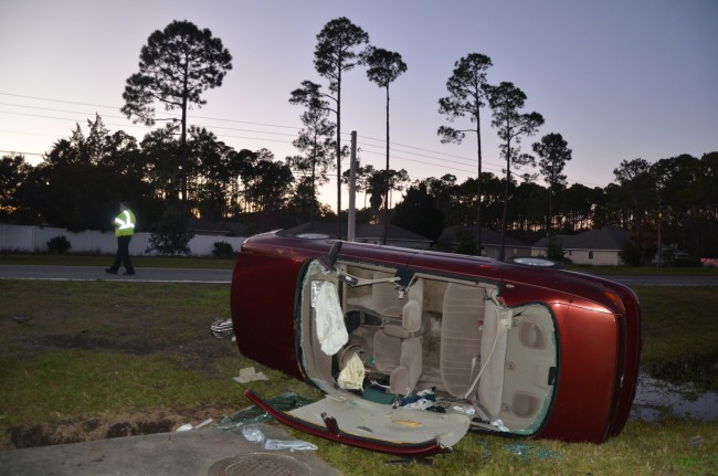 The Chevrolet ended up facing southwest after the crash. Click on the image for larger view. (© FlaglerLive)