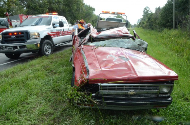 The vehicle after it was righted. Click on the image for larger view. (© FlaglerLive)