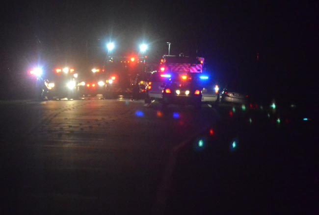 Palm Coast and county fire rescue personnel were at the sxcene of the two-vehicle wreck late Saturday. (FlaglerLive)