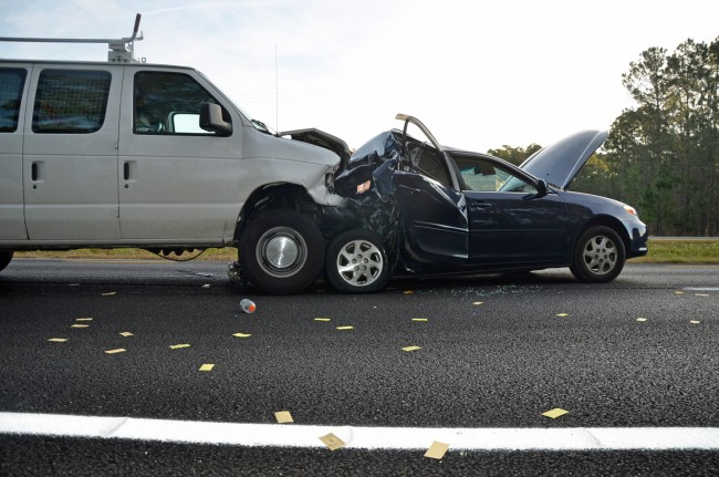 The wreck took place just before 7 a.m.  on U.S. 1. Click on the image for larger view. (© FlaglerLive)