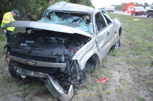 The pick-up truck that jumped the guard rail. Click on the image for larger view. (© FlaglerLive)
