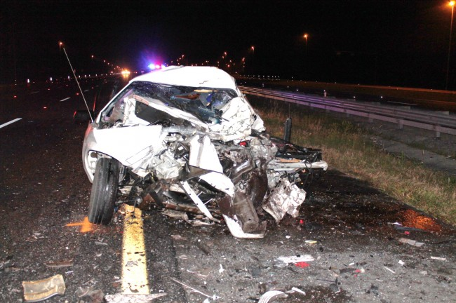 What was left of one of the cars involved in Friday's wrong-way crash on I-75.