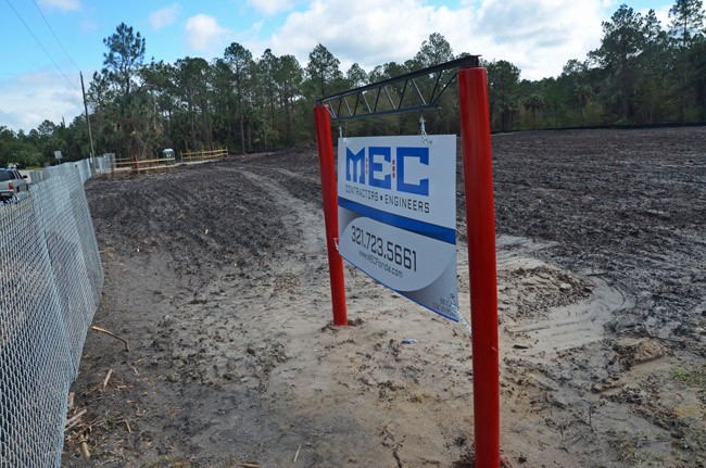 The acreage at Wynnfield and Pine Lakes Parkway has been cleared. A gas station and convenience store will open there by June. (© FlaglerLive)