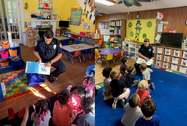 Officer Zapata, left, and ffficer Hirschi read to a class at the Early Learning Coalition of Flagler and Volusia.
