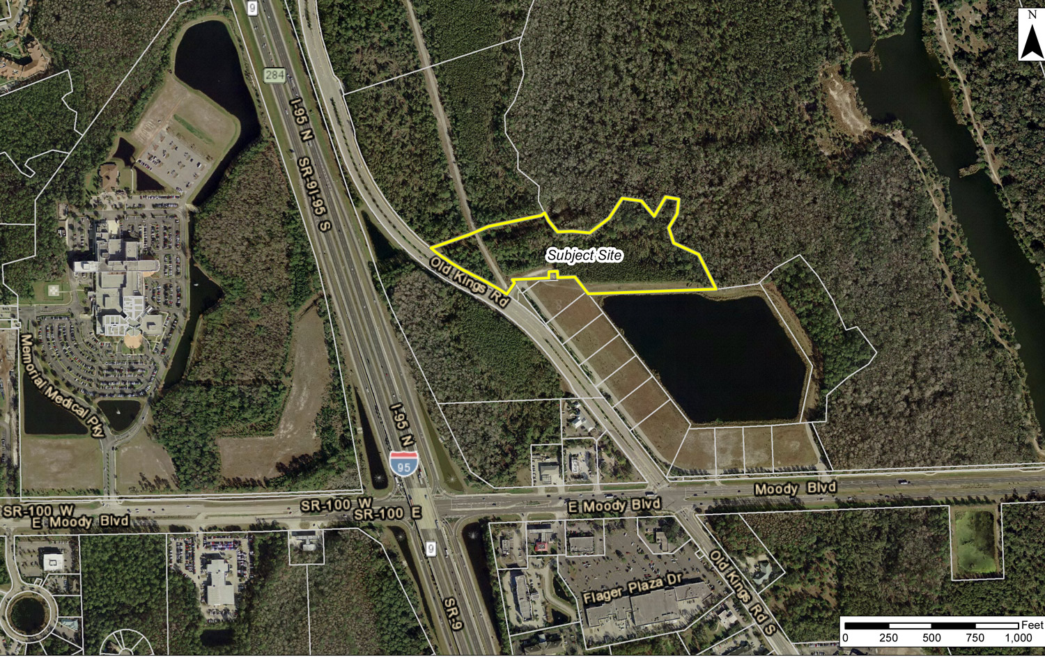 The 12 acres that would be rezoned for apartments, outlined in yellow. Click on the image for larger view.